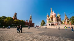 View of Kremlin and the Cathedral of Vasily the Blessed Stock Footage