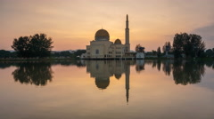Sunrise at As Salam Mosque With Beautiful Reflection Stock Footage