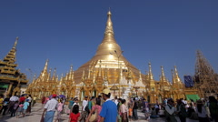 Timelapse View of Shwedagon Pagoda in Yangon, Myanmar (Burma) Stock Footage