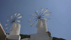 Old Greek windmills Stock Footage