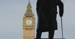 Stock Video Footage of Winston Churchill statue facing Big Ben 4K