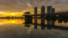 Epic Sunset At Putrajaya With Perfect Reflection  Stock Footage