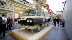 The Soviet minibus Start 1965 inside Gum Department store. Stock Footage