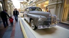 "Soviet retro car GAZ-20 ""Pobeda"" inside Gum Department store. Stock Footage"