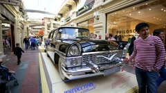 Soviet retro car Chaika GAZ-13 inside Gum Department store. Stock Footage