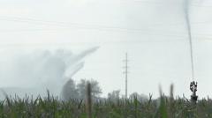 Crop Irrigation Using the Rain Gun Sprinkler System - stock footage