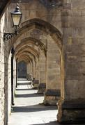 archway at winchester cathedral - stock photo