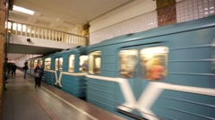 Train arrives at the Moscow metro station. Arkistovideo