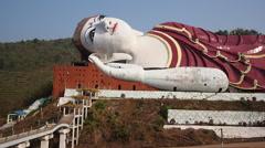 Win Sein Taw Ya Reclining Buddha Statue, Mawlamyine, Mon State, Myanmar (Burma) Stock Footage
