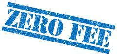 Zero fee blue square grunge textured isolated stamp Stock Illustration
