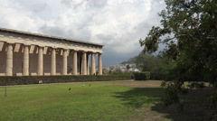 Athens Greece Agora ancient Temple of Hephaestus pan 4K 058 Stock Footage
