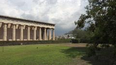 Stock Video Footage of Athens Greece Agora ancient Temple of Hephaestus pan 4K 058