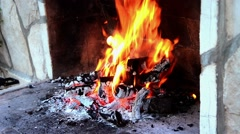 Burning wood on fireplace Stock Footage
