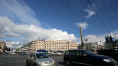 Petersburg cityscape, view from Vosstaniya square. Stock Footage