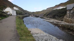 River valency Boscastle Cornwall England UK towards harbour Stock Footage