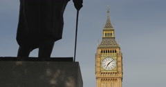 Big Ben, shadows on Churchill statue 4K Stock Footage