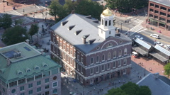 Faneuil Hall Aerial View Looking Down Freedom Trail Boston Stock Footage