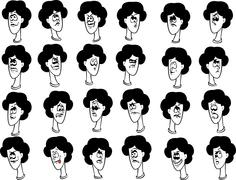 Set of cartoon female faces with emotional expressions Stock Illustration