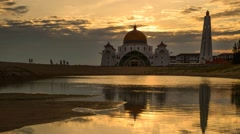 Malacca's Straits Mosque During Sunset - Slide & Pan Stock Footage