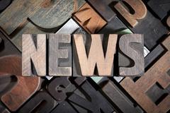News written with antique letterpress type Stock Photos