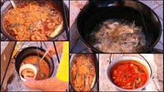 Collage goulash fish soup prepared boiled cooking in a pot  Stock Footage