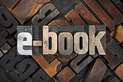 e-book, written with letterpress printing blocks - stock photo