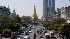 Traffic Around Sule Pagoda in Yangon, Myanmar (Burma) Stock Footage