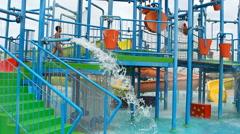 amusement summer big recreation area with aquapark summer fun, - stock footage