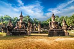 Mythology and religious statues at wat xieng khuan buddha park. vientiane, laos Stock Photos
