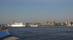 White ship near the temple in St. Petersburg.  4K. Stock Footage
