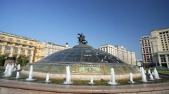 View of the Manezh Square and Four Seasons hotel (Hotel Moskva). Stock Footage