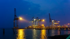 Klang North Port During Blue Hour Part 2 - stock footage