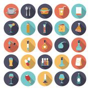 flat design icons for food and drinks industry - stock illustration