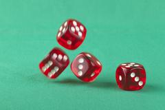 dice on green - stock photo