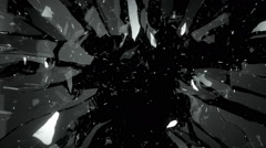 Glass shattered with slow motion. Alpha Stock Footage