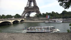 Stock Video Footage of Eiffel Tower and Riverboat