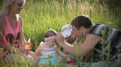 Family on picnic - stock footage