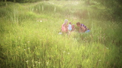 Family on picnic resting in tall green grass under warm summer rays - stock footage