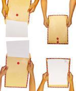 Set of brown envelope Stock Photos