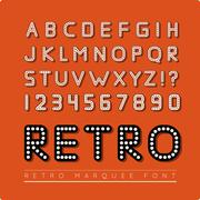 Retro marquee font - stock illustration