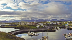 town of stykkisholmur and the harbor in western iceland - stock footage