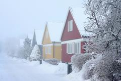 houses in winters chill - stock photo