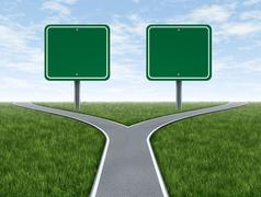 Cross roads with blank signs Stock Illustration