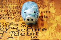 piggy bank on secure text concept - stock photo