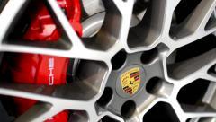 Car wheel - disc brake - Porsche Stock Footage