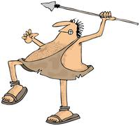 Caveman throwing a spear Stock Illustration