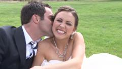 Cute Whispering for the Bride Stock Footage