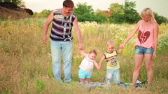 family stay with a children Stock Footage