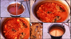 Goulash fish  cooking in a pot collage multi screen 1920x1080 full hd footage Stock Footage