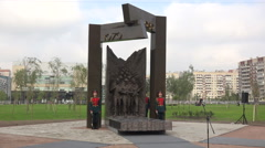 The opening of the monument to Soviet soldiers in Afghanistan. 4K. Stock Footage